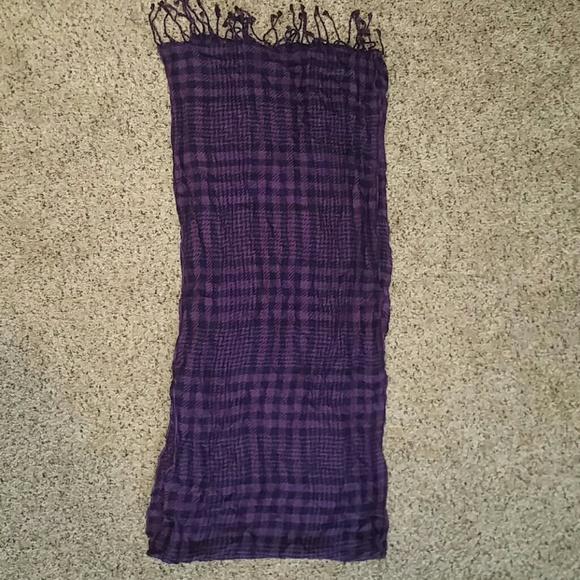none Accessories - Purple plaid scarf